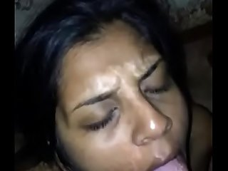 Desi girl taking cum shot in mouth