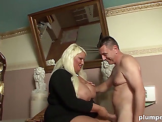 Large blond plumpy lady is groupfucked hardcore by this lascivious chap