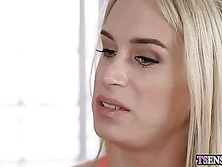GoldenHaired ladyboy anal drilled by a boyfriends corpulent weenie