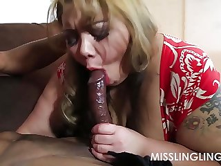 Exotic big beautiful woman Miss LingLing Gives Large Dark Rod Sloppy Oral Job