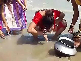 Beautiful Indian Girl Catch Fish