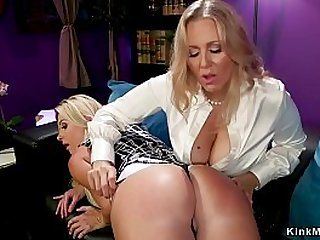 Blonde mature lady anal fucks big ass lesbian with strap on cock