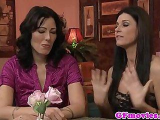 Busty tattooed girlfriend fingering lesbian